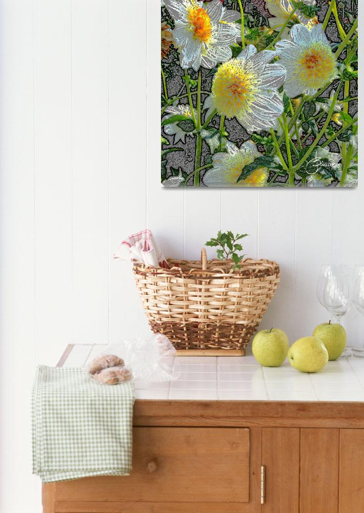 """White and yellow dahlias""  (2011) by judithschmidt"