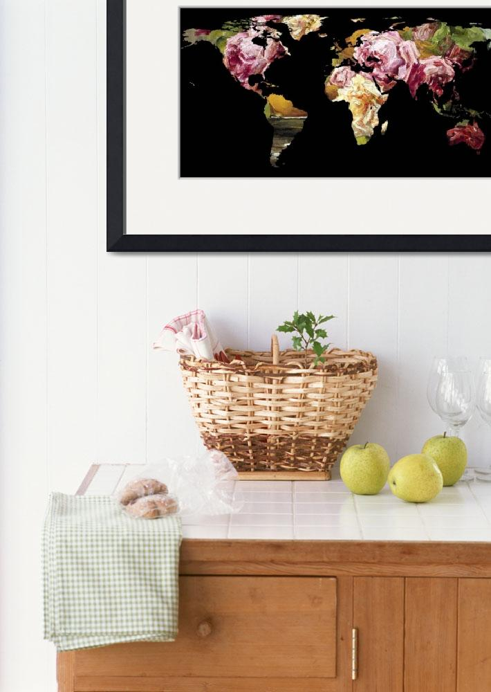 """""""World Map Silhouette - Painting of Roses&quot  by Alleycatshirts"""