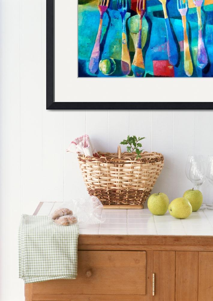 """""""Funny Kitchen Art Abstract Forks Food Fruit Art&quot  (2016) by Maggy"""