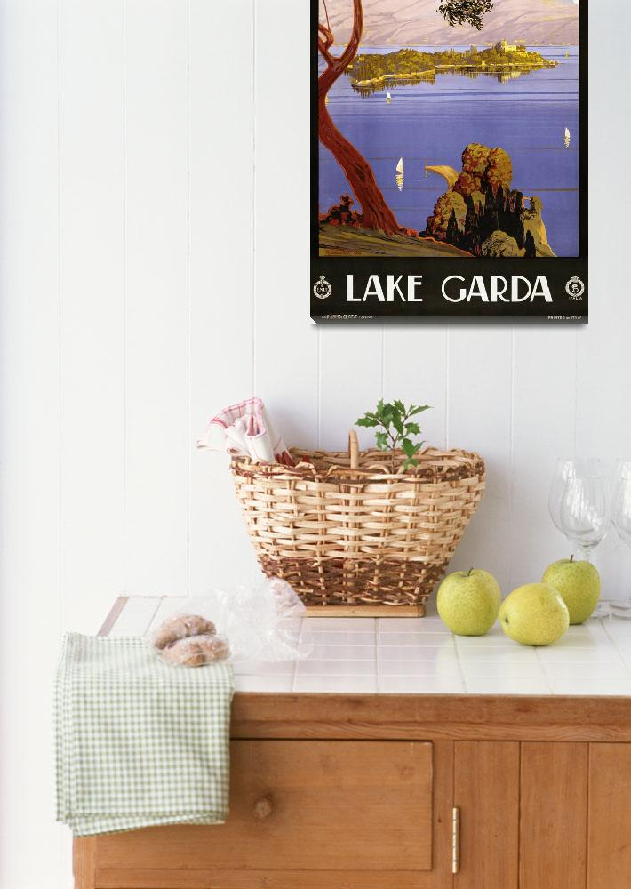 """""""Lake Garda, Italy Vintage Travel Poster""""  by FineArtClassics"""