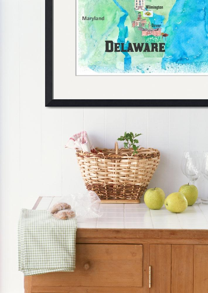 """""""USA Delaware State Travel Poster Map with Touristi""""  (2018) by arthop77"""
