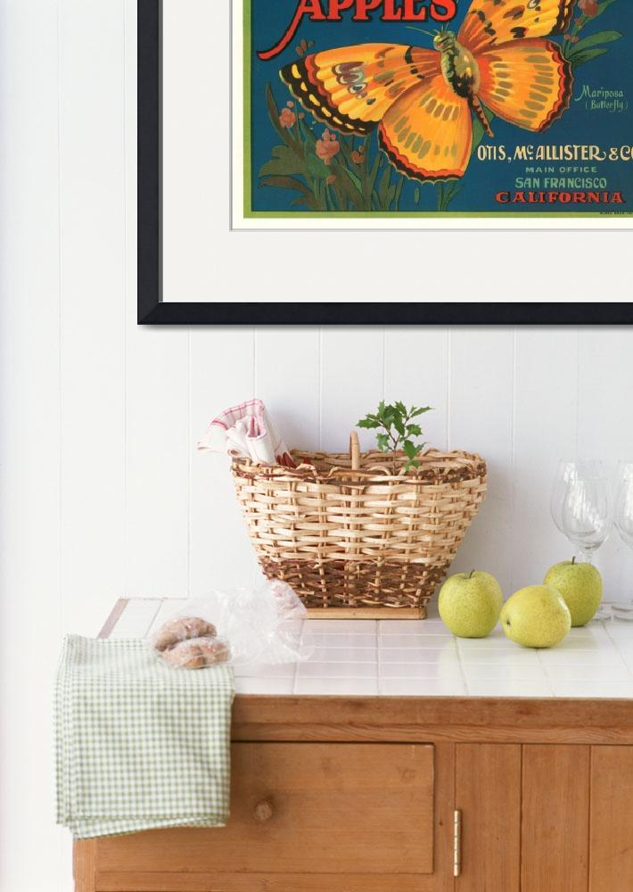 """""""Mariposa Apples Butterfly Fruit Crate Label&quot  by lifeoverhere"""