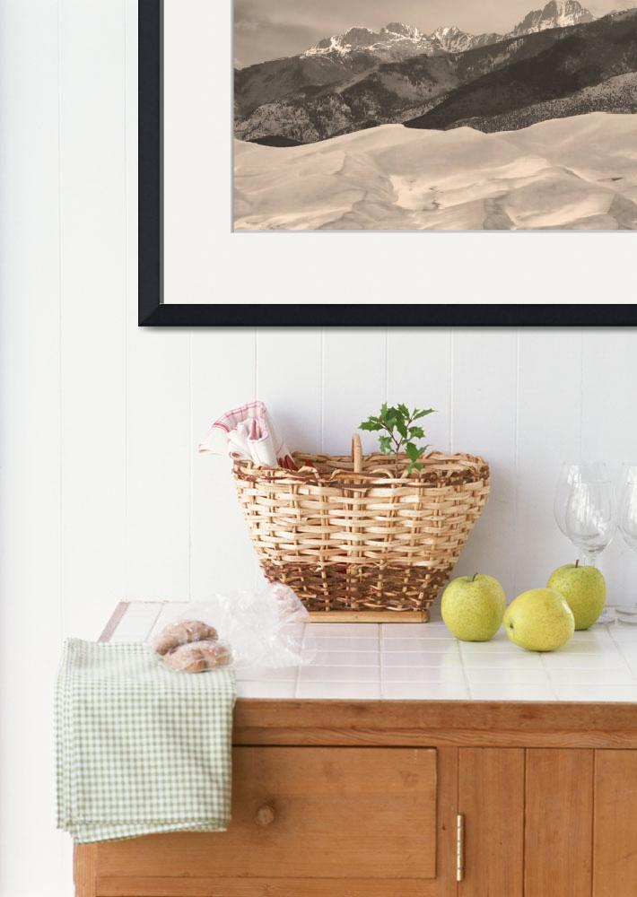"""The Great Sand Dunes Sepia Print 45&quot  (2010) by lightningman"