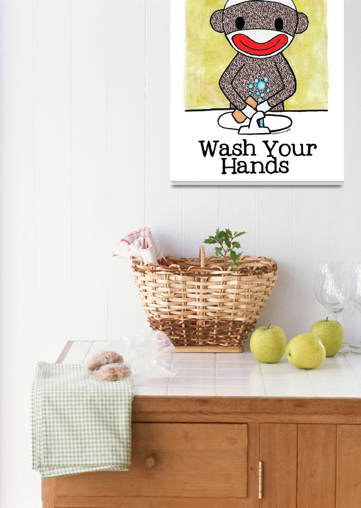 """""""Sock Monkey Bath Room Reminder - Wash Your Hands&quot  (2009) by MonkeyHut"""