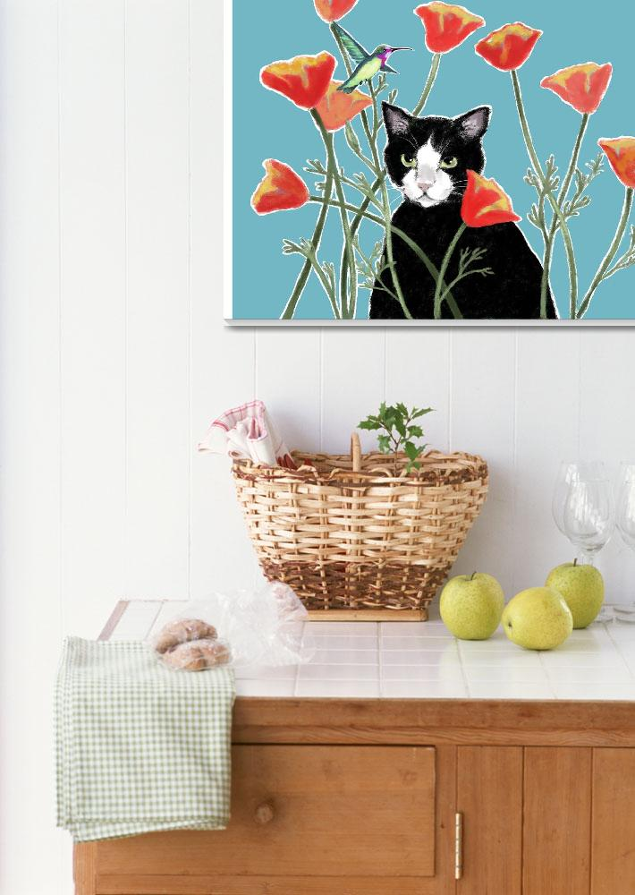 """""""Cat with Poppies&quot  (2011) by LynGianni"""
