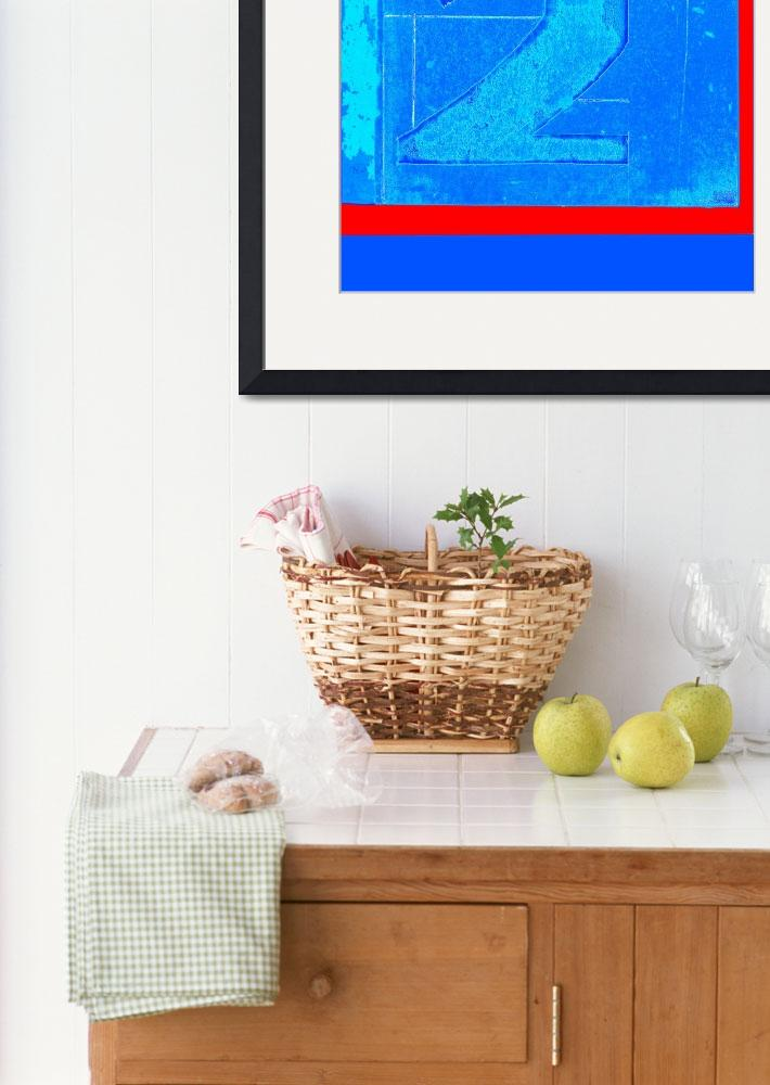 """Print two blue with a red stripe""  (2009) by literal-illustrations"