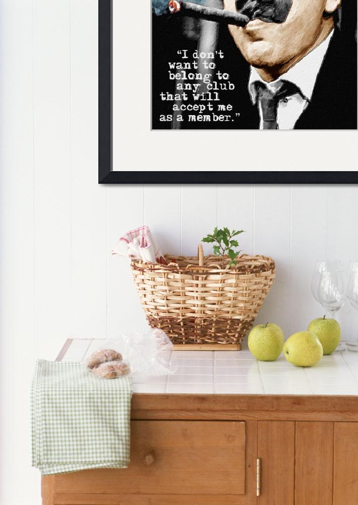 """""""Groucho Marx And Quote Vertical&quot  by RubinoFineArt"""