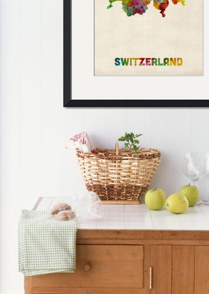 """Switzerland Watercolor Map&quot  (2014) by ModernArtPrints"