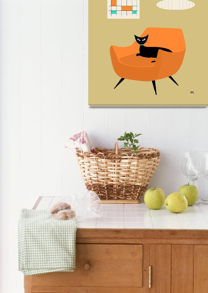 """""""Mid Century Mini Abstract Orange Chair""""  (2013) by DMibus"""