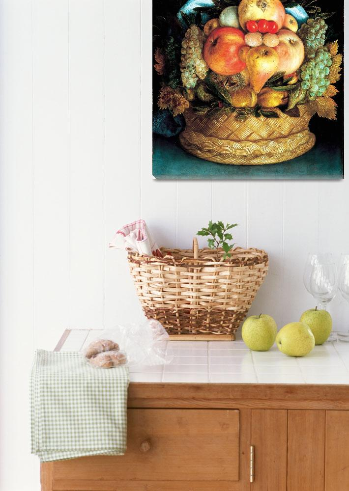 """""""Head_with_Fruit_Basket_1590_Wood&quot  by OldWorldPrintShop"""