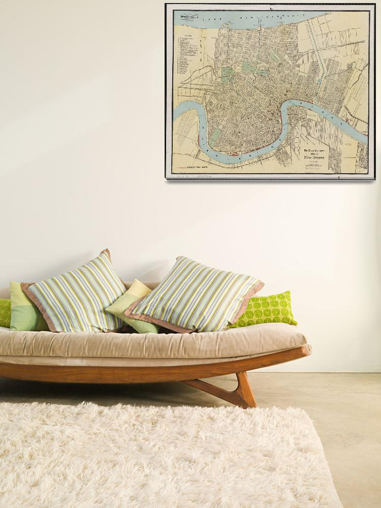 """""""Vintage Map of New Orleans Louisiana (1919)&quot  by Alleycatshirts"""