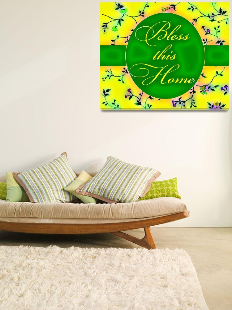 """bless this home vibrant green and yellow&quot  by lizmix"