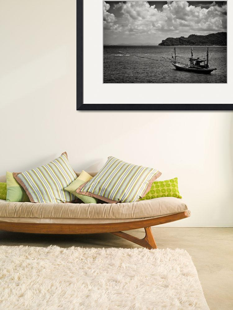"""Monochrome Boat - Thailand&quot  (2011) by CanvasofLight"
