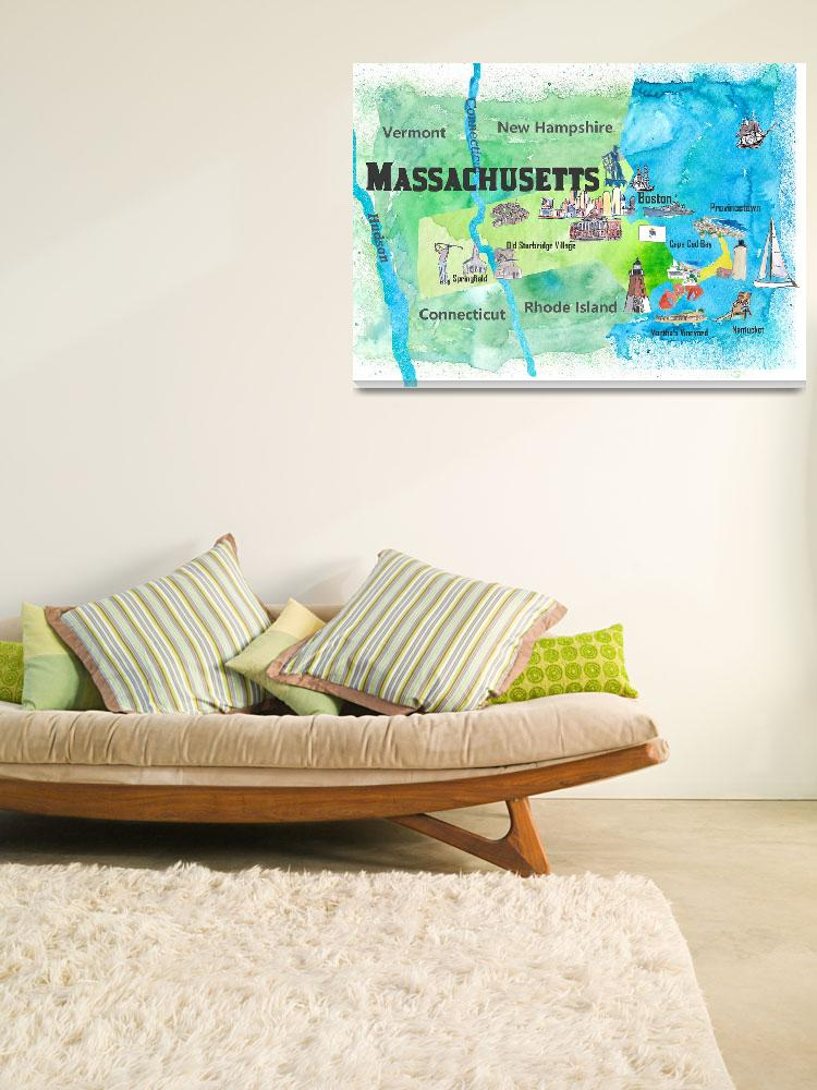 """""""USA Massachusetts State Travel Poster Map with Tou""""  (2018) by arthop77"""