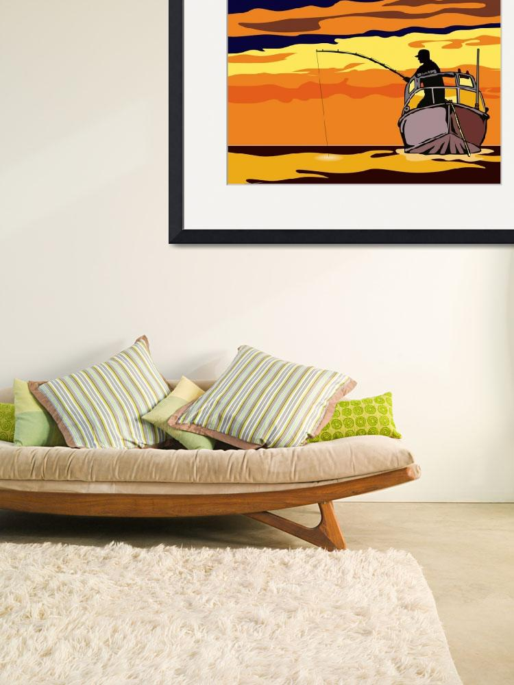 """""""Fly Fisherman Rod and Reel Retro&quot  (2013) by patrimonio"""