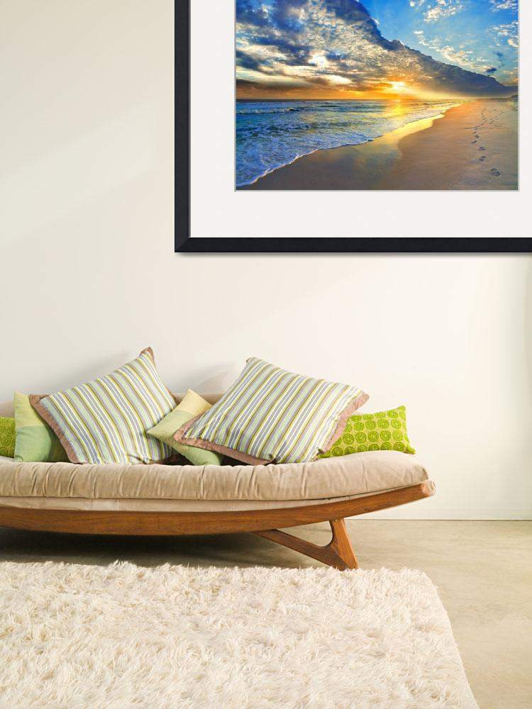"""Gold Sunset Beach Waves Seascape Fine Art Prints""  (2013) by eszra"