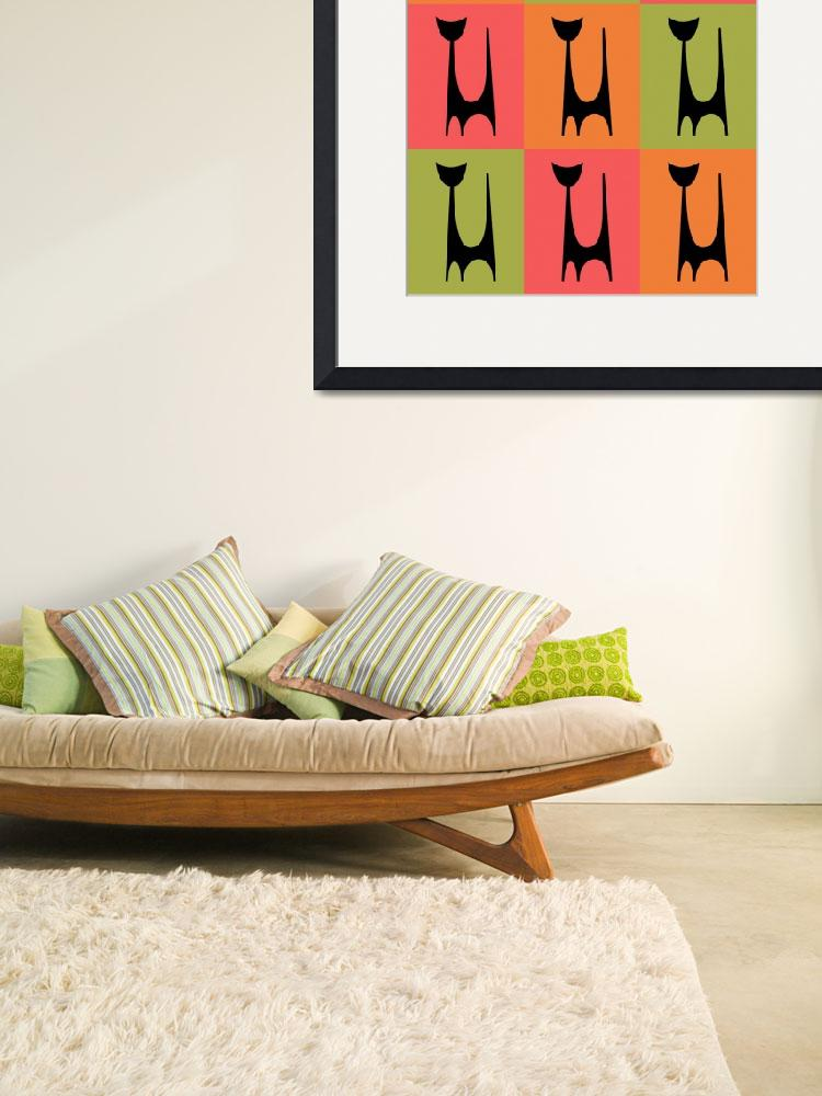 """""""Abstract Cat 1 pink orange green&quot  by DMibus"""