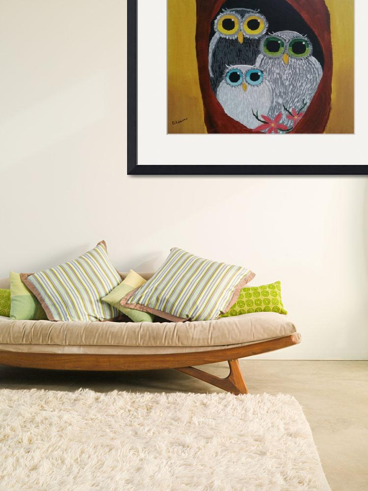"""""""Whimsical Owl Family&quot  (2015) by debbieadams"""