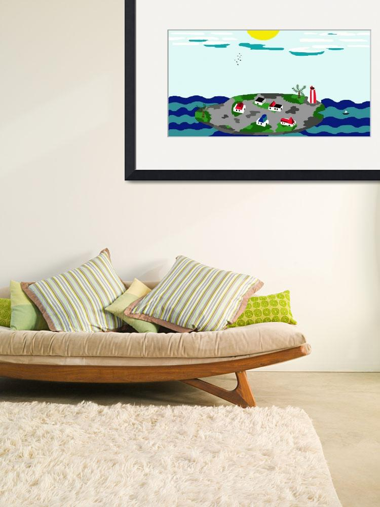 """""""island with houses on the sea&quot  (2012) by ArtNaive"""