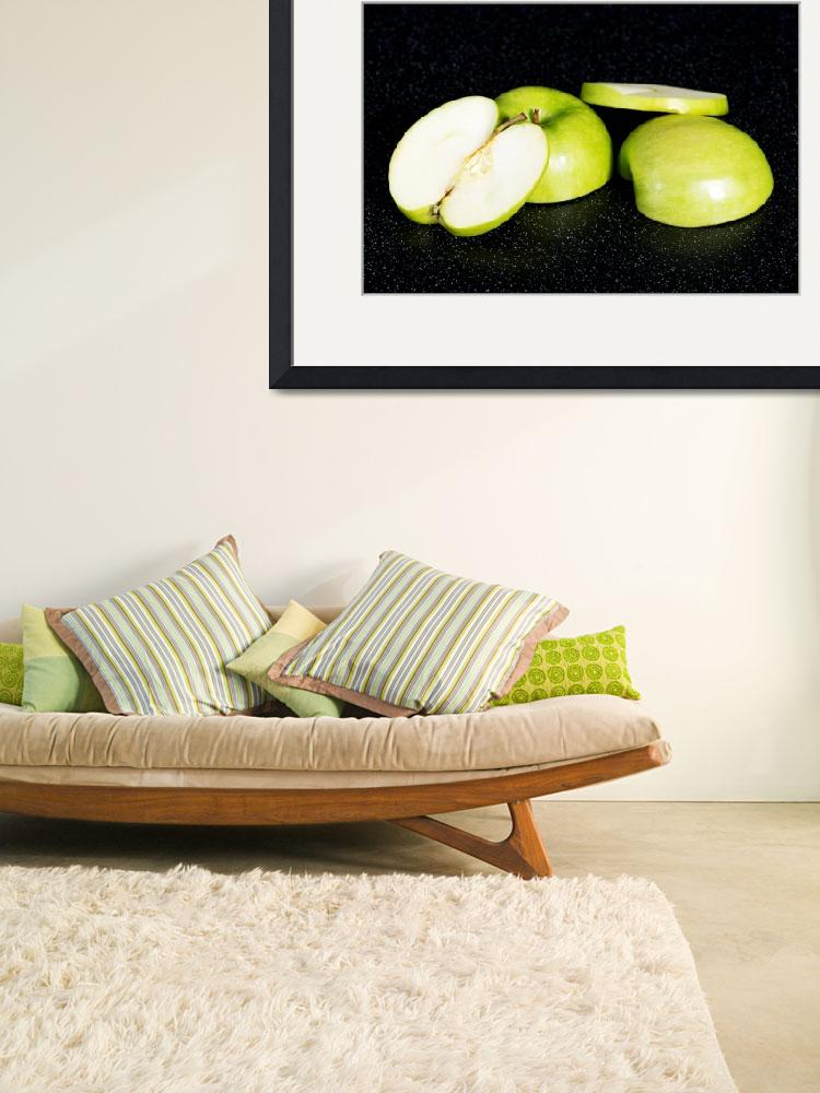 """""""Green apples cut into two. Over black background.&quot  by Piotr_Marcinski"""