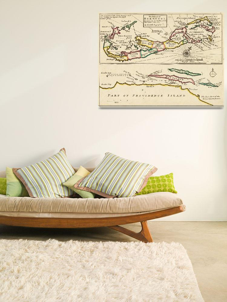 """Vintage Map of Bermuda (1736)""  by Alleycatshirts"