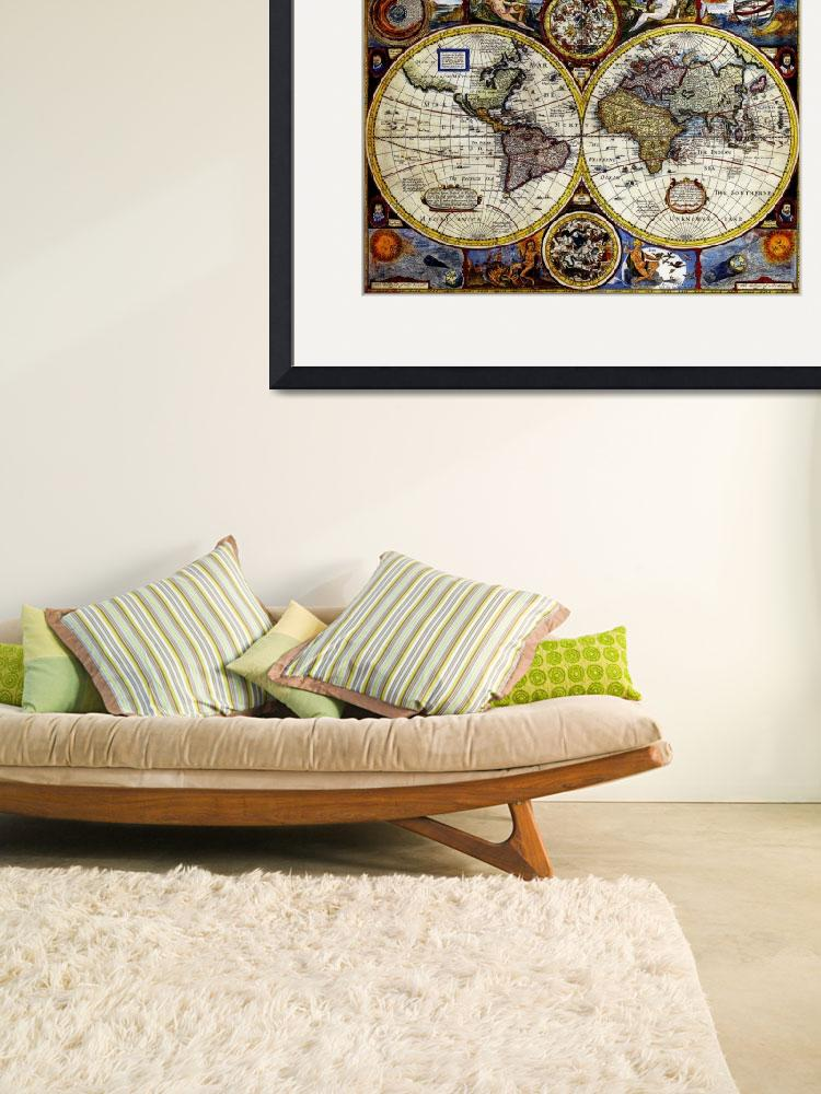 """Vintage Map of The World (1626) - Stylized&quot  by Alleycatshirts"