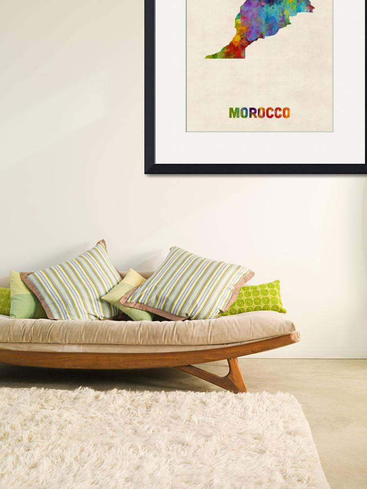 """Morocco Watercolor Map&quot  (2017) by ModernArtPrints"