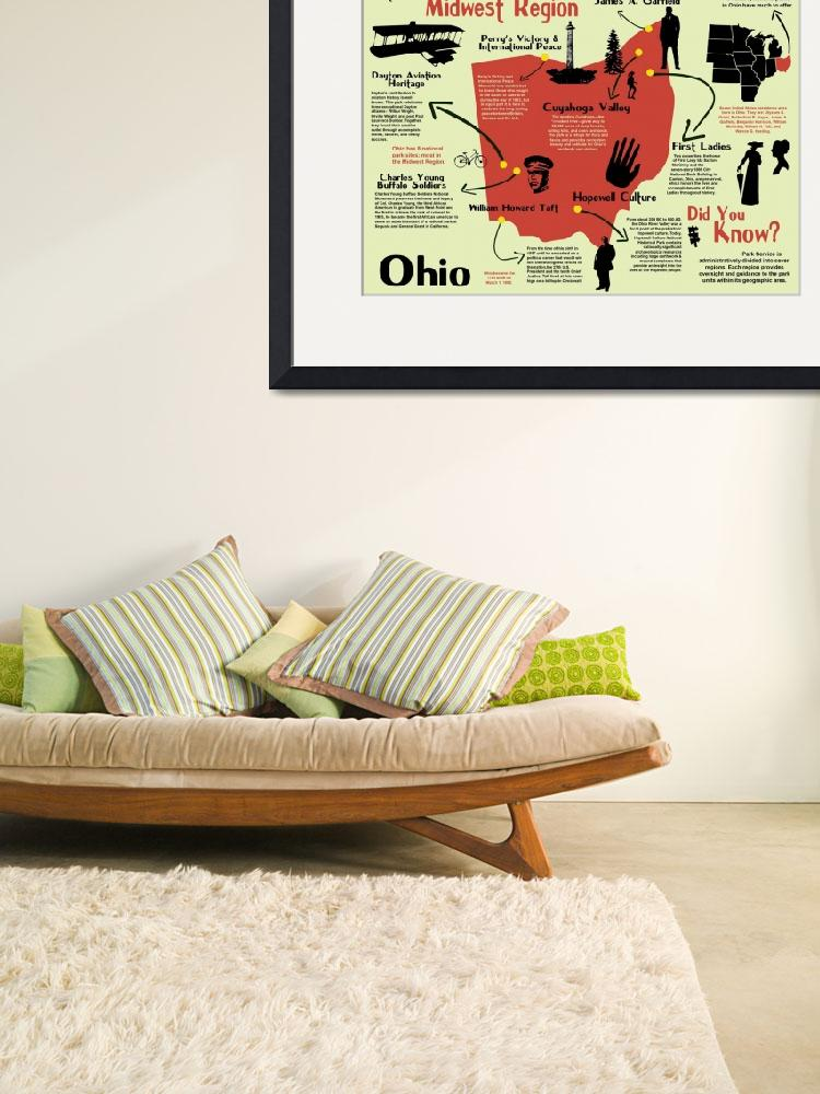 """Ohio National Parks Pictorial Map&quot  by Alleycatshirts"