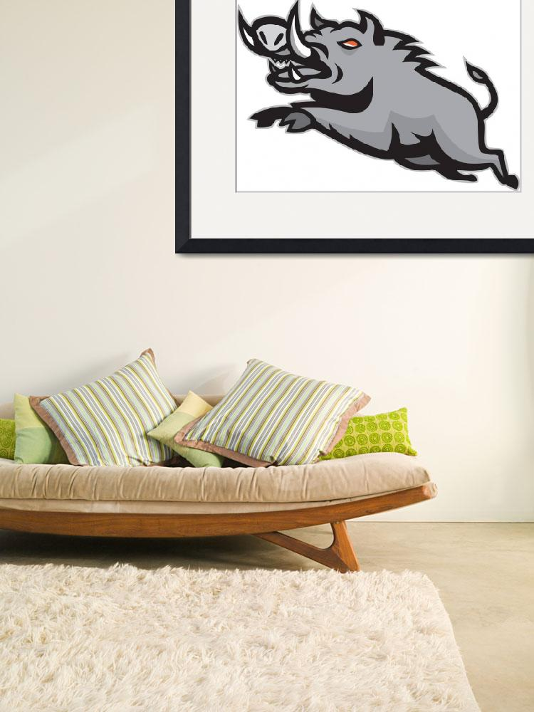"""""""Wild Pig Boar Jumping Isolated&quot  (2013) by patrimonio"""