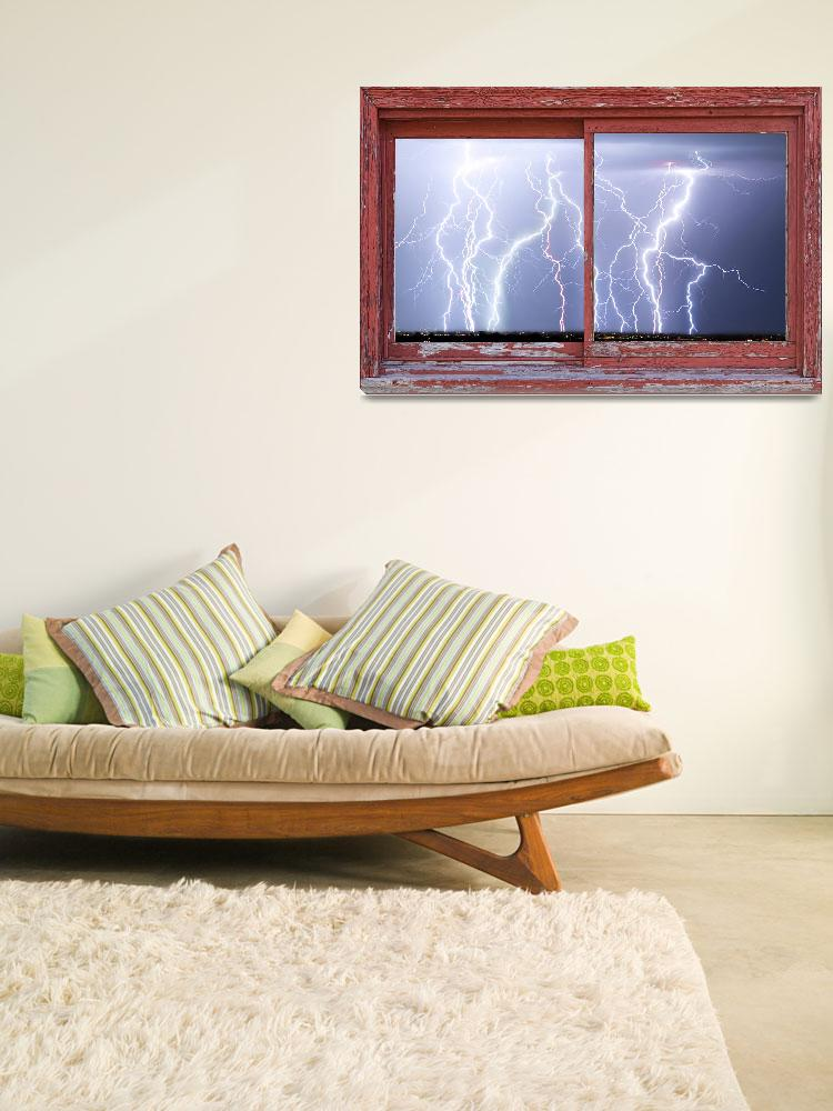 """""""Electric Skies red Barn Picture Window Frame Art""""  (2012) by lightningman"""