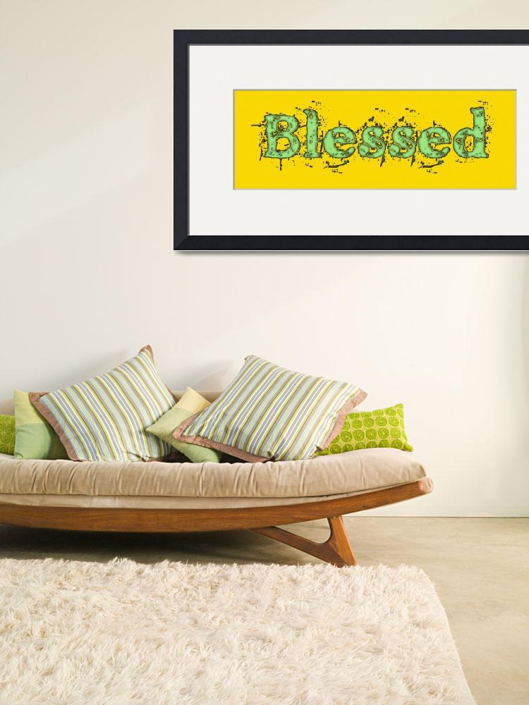 """blessed old print green on yellow&quot  by lizmix"