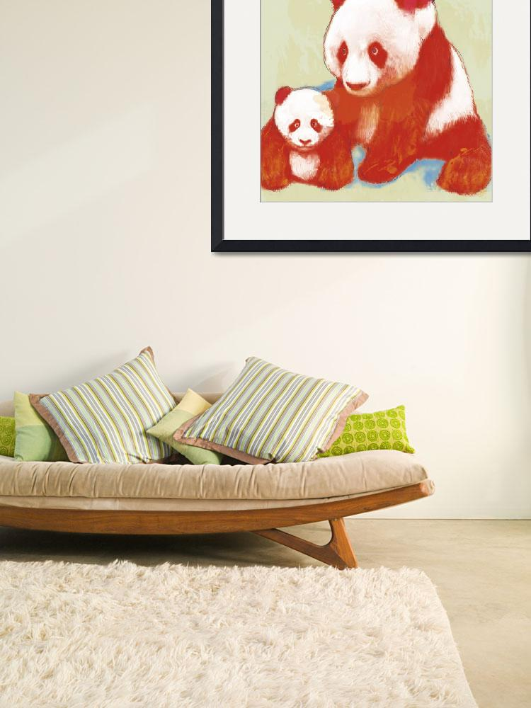 """""""panda mum with baby stylised drawing art poster""""  (2013) by visualharbour"""