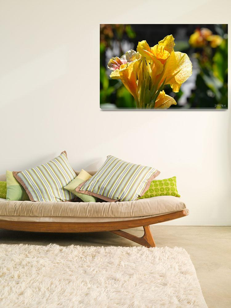 """""""Yellow Gladiolas in the Sunlight""""  (2012) by theblueplanet"""