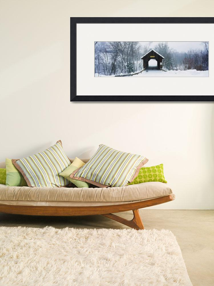 """""""New England covered bridge in winter&quot  by Panoramic_Images"""