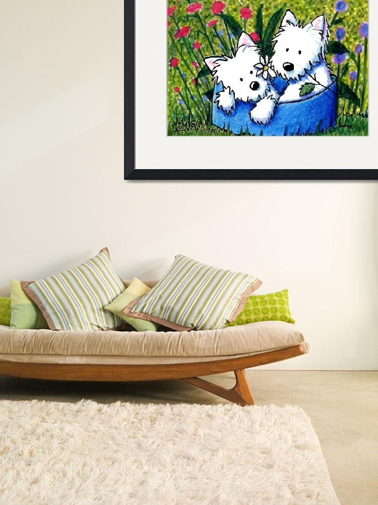 """""""Flowerbed Westies&quot  (2007) by KiniArt"""