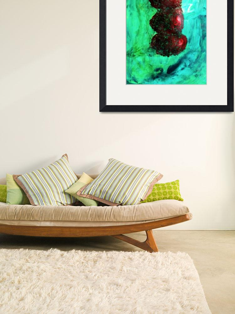 """""""Still LIfe Red Apples Stacked on Green Table and W&quot  (2012) by ExclusiveCanvasArt"""
