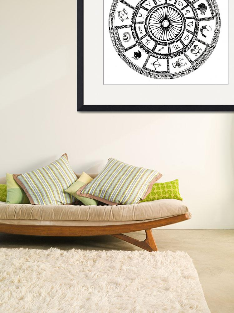 """Astrological chart with zodiac symbols""  by fanaticstudio"