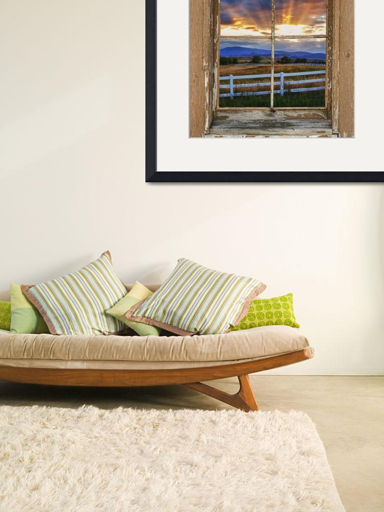 """""""Country Beams Of Light Barn Picture Window View""""  (2013) by lightningman"""