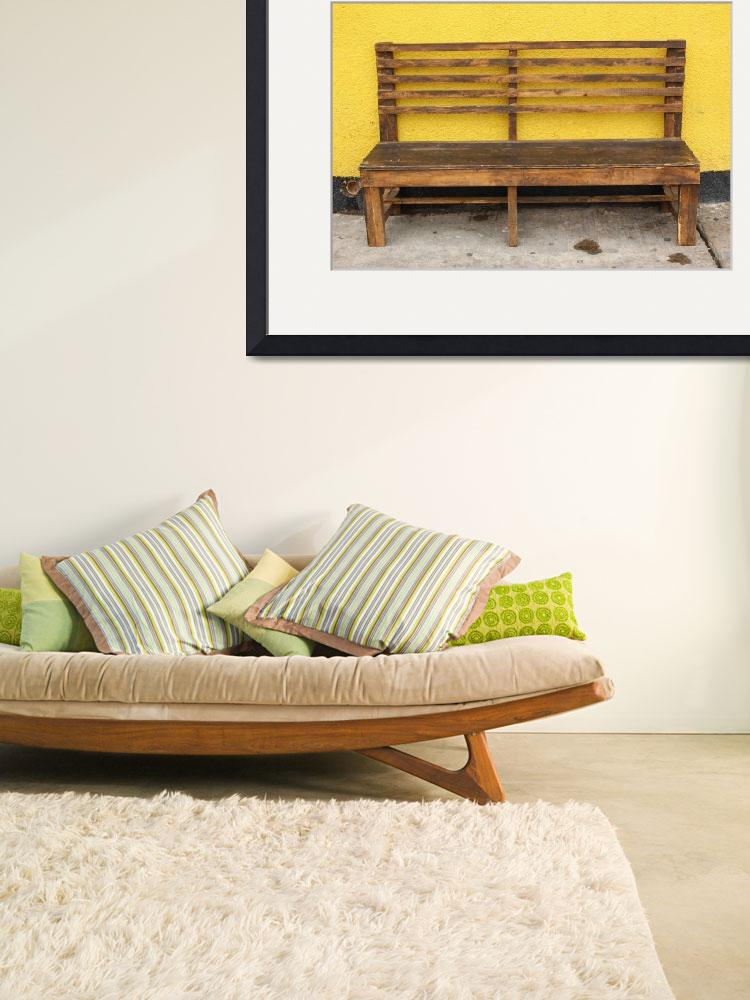 """""""Wood Bench Next to a Yellow Wall&quot  (2014) by rhamm"""