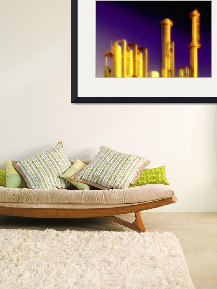 """""""Oil Refinery-Gold-Urban Industrial Art&quot  (2008) by Tulsa1000"""