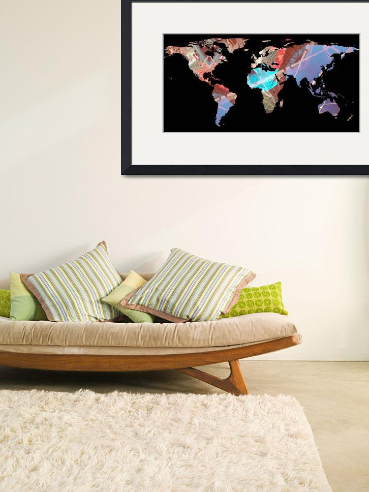 """""""World Map Silhouette - Stylished Light Showers&quot  by Alleycatshirts"""