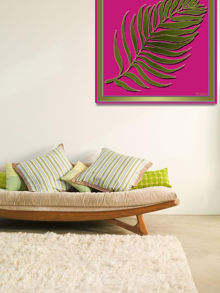 """""""Pink Green Palm Leaf&quot  (2014) by TruthJC"""