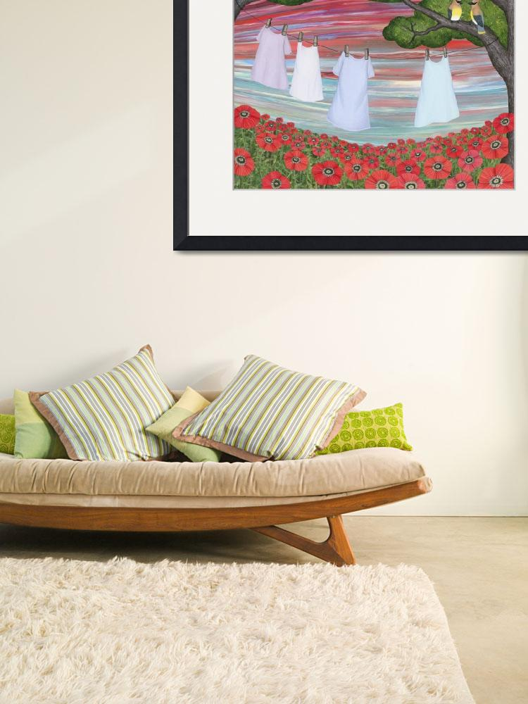"""""""cedar waxwings, poppies, and laundry&quot  (2014) by sarahkdesigns"""