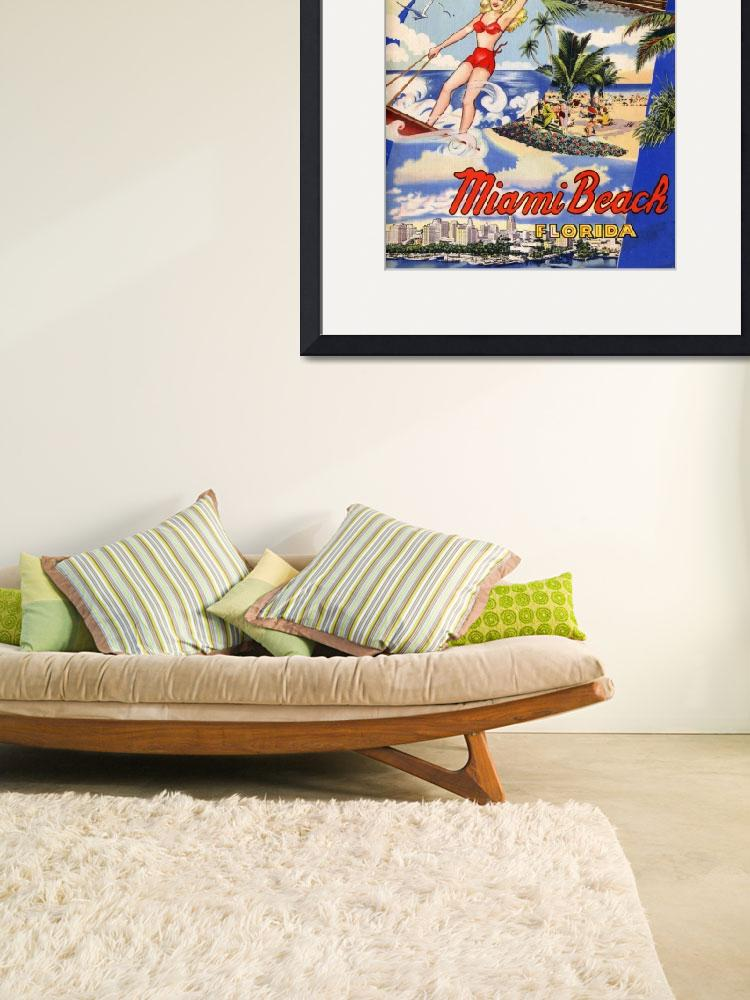 """Vintage Miami Beach Florida Travel&quot  by PDGraphics"
