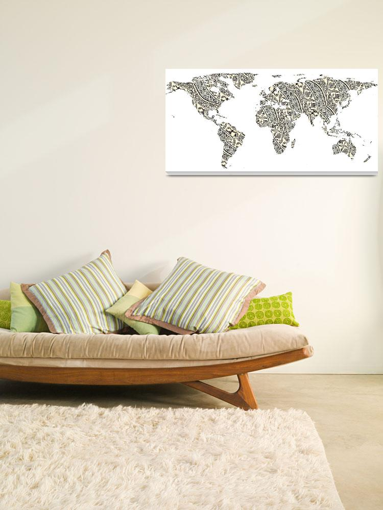 """""""World Map Silhouette - Patterned Mandala 03&quot  by Alleycatshirts"""