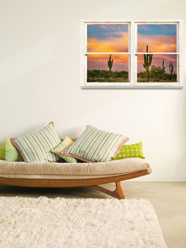 """Colorful Southwest Desert Rustic Window Art View&quot  (2014) by lightningman"