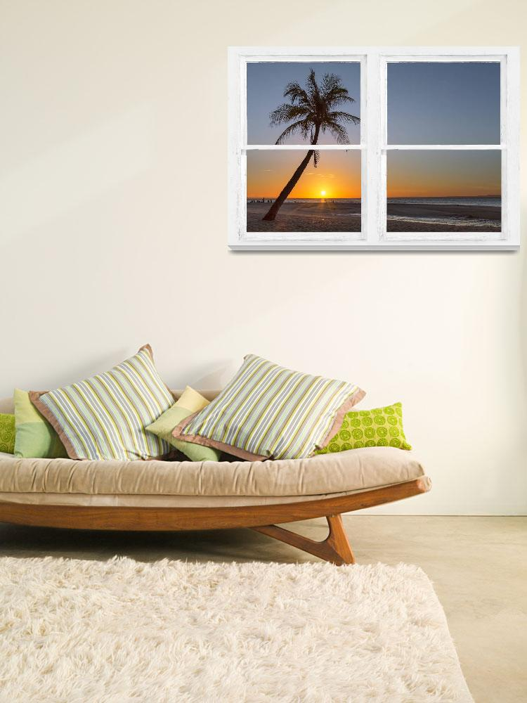 """Tropical Paradise Sunrise Whitewash Window View""  (2016) by lightningman"