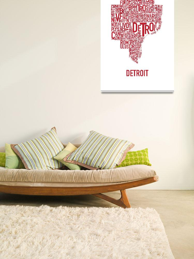 """Detroit Typography Map Red&quot  by HunterLangston"