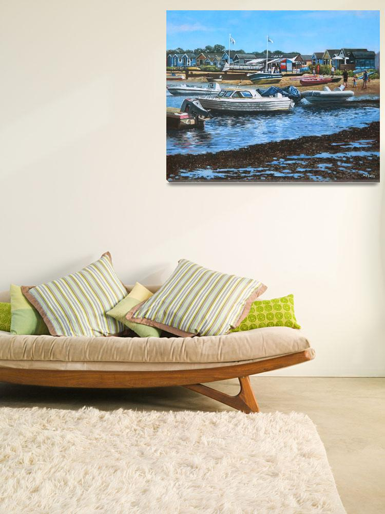 """""""christchurch hengistbury head beach with boats&quot  (2012) by martindavey"""