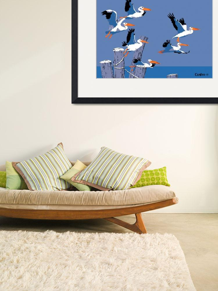 """""""abstract Pelicans seascape tropical pop art&quot  (1985) by walt-curlee"""